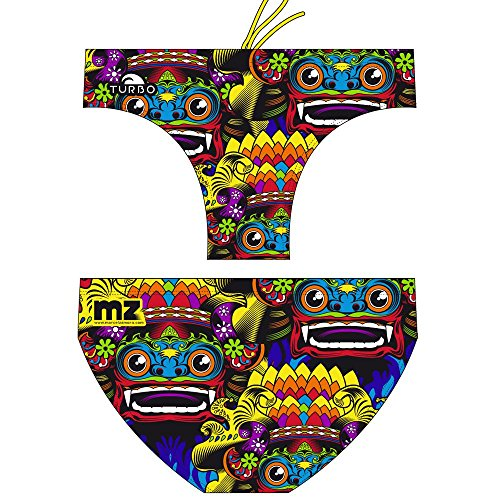 TURBO - Costume da nuoto da uomo BALI MASK, colore: nero con fantasia multicolore