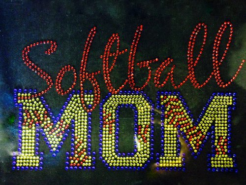 (Softball Mom Stitches Rhinestone Transfer Iron On - DIY)