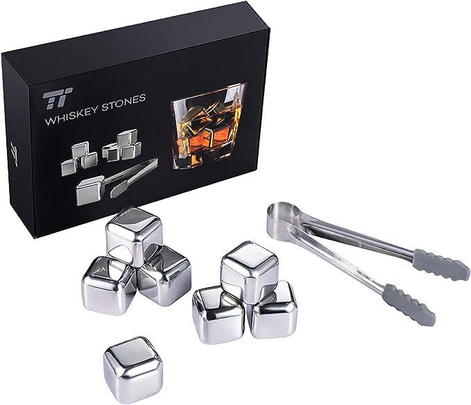 TaoTronics 8pzs Cubitos de Hielo Reutilizables, Cubos Enfriadores Whisky Piedras (Acero Inoxidable, con pinza y bandeja con tapa, para enfriar Whisky, ...