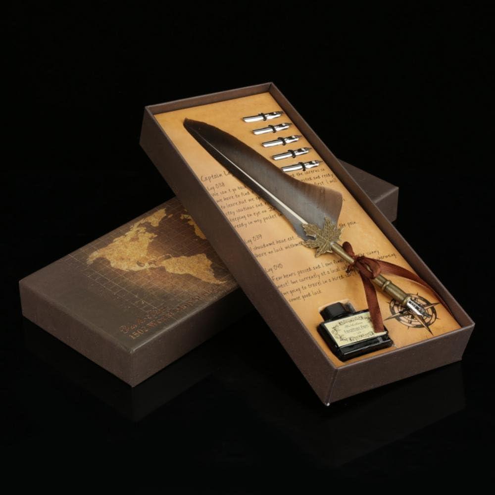 Stylo plume pour calligraphie stylo /à tremper dans l/'encre avec 5 pointes en m/étal dans une bo/îte cadeau Vert