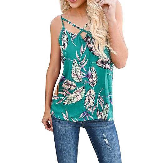171c6828960ecf Amazon.com: Women Tank Tops Tropical Plant Leaf Print Criss Cross V-Neck  Summer Sleeveless Loose Vest: Clothing