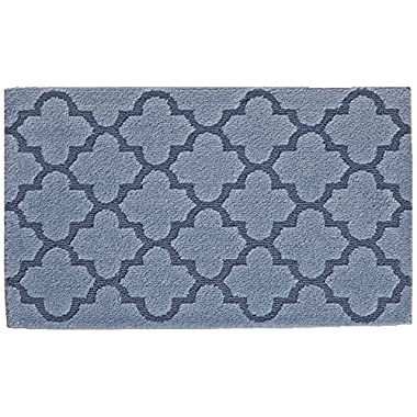 STAINMASTER Trusoft Lattice Design Bath Rug, 24 by 40-Inch, Blue Sky