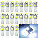 Image of EverBright 20-Pack White T10 194 168 2825 W5W 5050 5 SMD LED Bulb For Car Replacement Interior Lights Clearance Wedge Dome Trunk Dashboard Bulb License Plate Light Lamp DC 12V