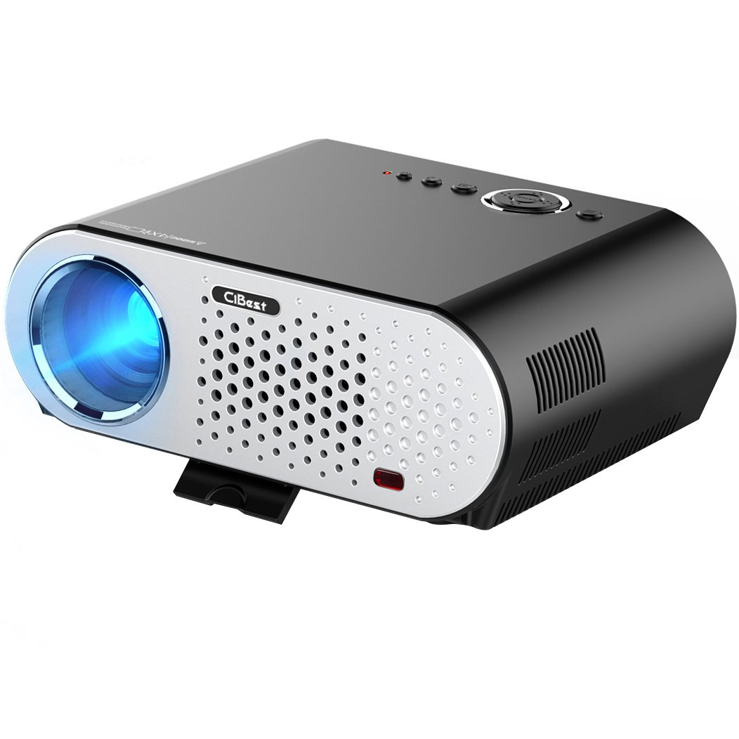 Video Projector Portable, CiBest GP90 LCD Projector HD 1080p 3500 Luminous Efficiency LED Multimedia Home Cinema Theater Entertainment Movie Party Game Projector HDMI VGA for Laptop iPad Smartphone