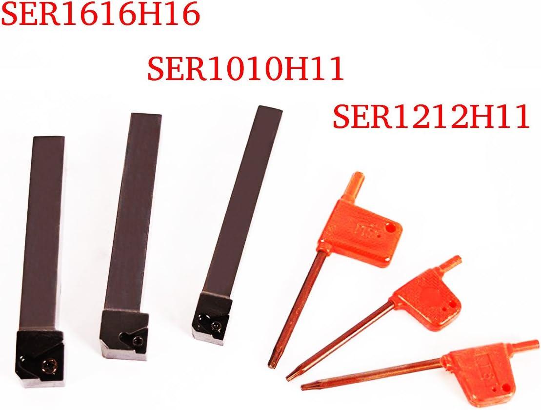 SER1212H11 3PCS SER1616H16 SER1010H11 CNC Lathe Exteral Turing Tool Holder Set Boring Bar