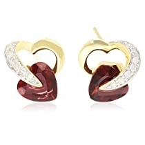 10k Heart and Diamond Earrings