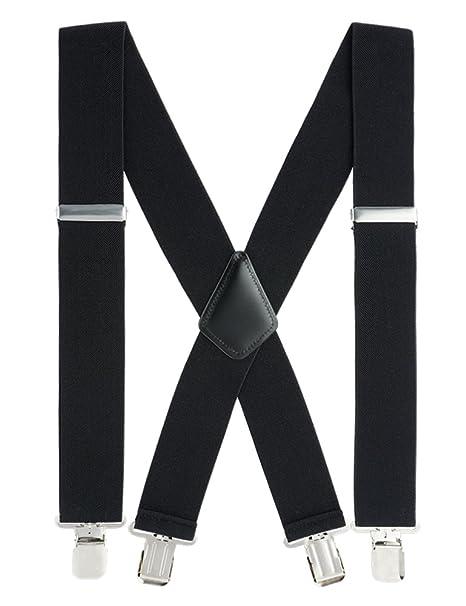 8e6d8d033cbf Suspenders for Men Heavy Duty, 2 Inch Wide X-Back Adjustable Elastic Clip  Suspenders