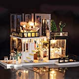 iiE Create Assemble DIY Doll House Toy Wooden Miniature Dollhouse Toys with Furniture Dust Cover LED Birthday Romantic Gift