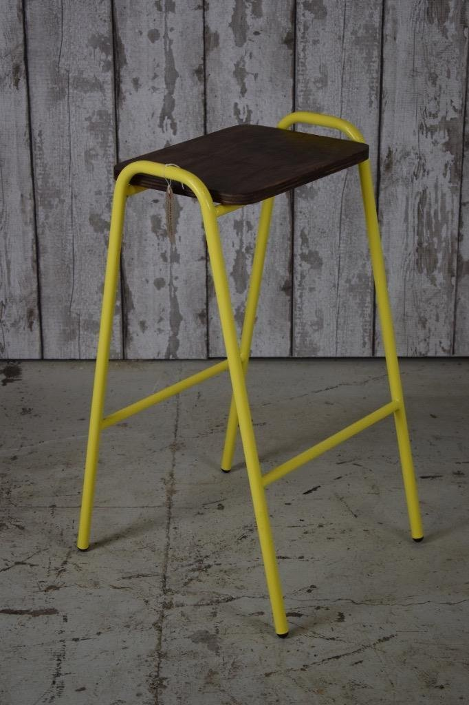 Groovy Vintage Industrial Style Yellow Frame Ply Top School Lab Beatyapartments Chair Design Images Beatyapartmentscom
