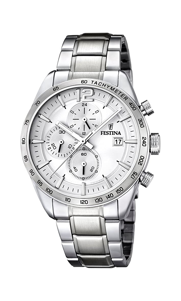 Festina Men s Quartz Watch with White Dial Chronograph Display and Silver  Stainless Steel Bracelet F16759 1  Amazon.co.uk  Watches 0e305aa859