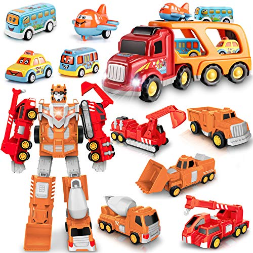 Construction Toys Truck Transform into Robot Bundle with Toys Vehicle Carrier Truck 3 4 5 6 Year Old Boys Girls Kids Toddlers 5 in 1 Toys Vehicles Christmas Birthday Gifts for Boys Girls