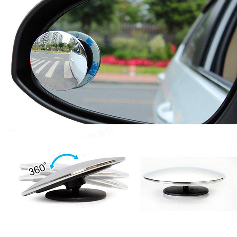 Set Espejos para puntos ciegos Mejora redonda 2 HD vidrio sin marco convexo Gran angular 360 /° Girar Espejo retrovisor exterior ajustable para todos los camiones todoterrenos 2 PCS