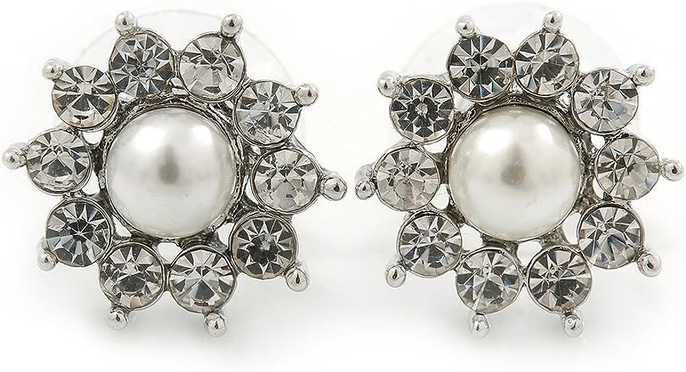 Tamaño pequeño Teen de cristal, perlas de imitación ' diseño de flores' Juego de pendientes de tuerca en Rodio en relieve con brillantes - 15 mm D