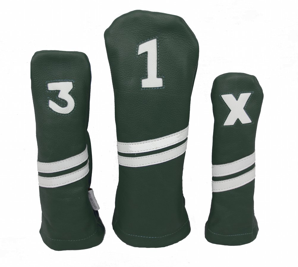 Sunfish Leather Headcover Set Driver 3-Wood Hybrid Green and White