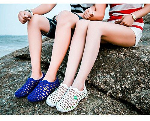 Minetom Unisex Verano Respirable de la Red del Acoplamiento Zapatillas de Playa Ahueca Hacia Fuera las Sandalias Non-slip Zuecos Zapatos de Lluvia Azul