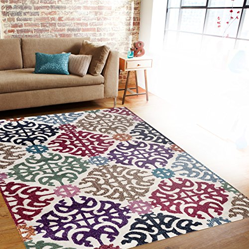 Rugshop Contemporary Geometric Design Color Soft Area Rug, 7'10