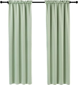 Anjee Blackout Curtains 54 Inch Kitchen Curtain Green Window Curtain Kids Room Darkening Drapes Thermal Insulated Drapery 2 Panels Home Decor Gifts,Fresh Green 38x54 Inches