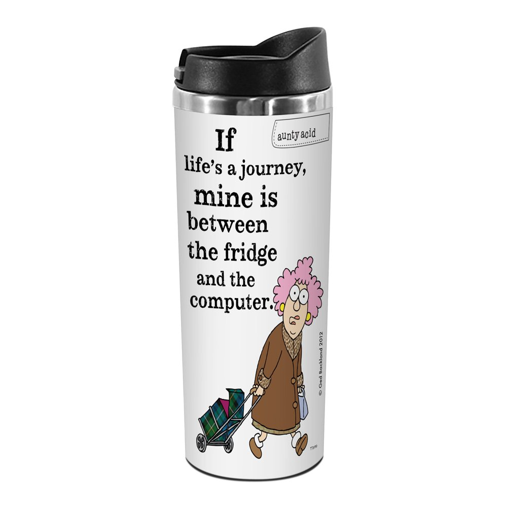 14-Ounce Tree-Free Greetings TT01750 Aunty Acid 18-8 Double Wall Stainless Artful Tumbler Lifes a Journey