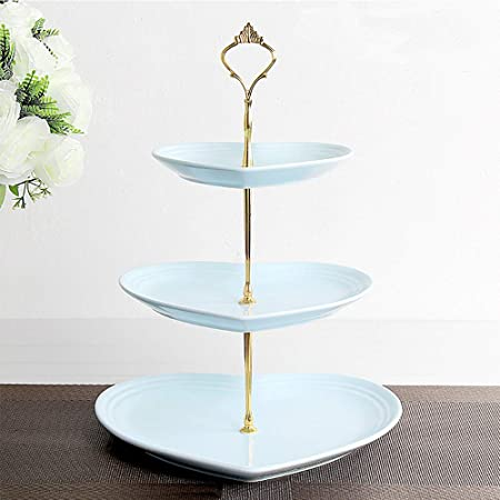 3 Tier Serving Tray Stand Kokitea 3 Tier Love Ceramic Cake Stand Cupcake Stand Wedding Dessert Stand Tea Party Serving Platter Blue Gold Amazon Co Uk Kitchen Home