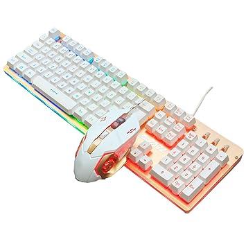 Snfgoij Mechanical Feel Ratón Teclado Juego Cable Juego Lol Gaming Internet Cafés Teclado De Juego Teclado USB Ergonomía Teclado Compacto Completo,B: ...