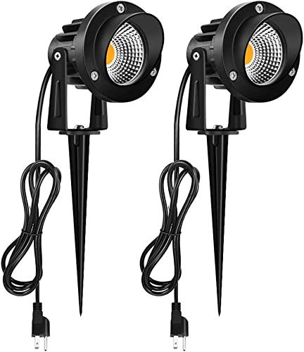 Romwish 10W LED Outdoor Spotlight, 120V AC Outdoor Landscape Lighting with Metal Ground Stake, 3000K Warm White, Including 5FT Power Cord, Plug and Play, IP65 Waterproof for Flag Light, Garden, Yard