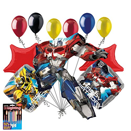 11 pc Transformers Optimus Prime Happy Birthday Balloon Bouquet Super -