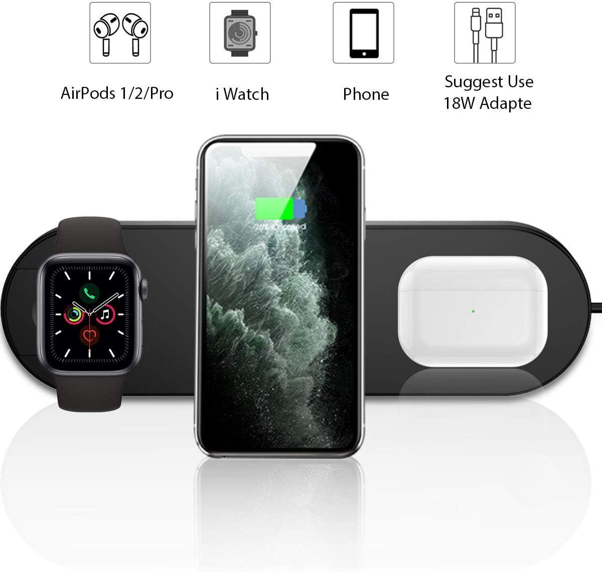 Cargador inalámbrico 3 en 1, soporte de estación de carga inalámbrica rápida Pad para iPhone 11 11pro 11pro Max X XS XR XS Max 8 8 Plus, Samsung S8 S7 y iWatch Apple Watch Series 5 4 3 2 1 Airpods