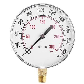 SunYueY 0-2000 Kpa medidor de presión de compresor de Aire, manómetro NPT de 1/4 Pulgadas, 0-300 PSI, 0-20 Bar: Amazon.es: Hogar