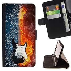 For HTC One Mini 2 M8 MINI Case , Las llamas de fuego Mapa del rock Guitarrista Rock Metal- la tarjeta de Crédito Slots PU Funda de cuero Monedero caso cubierta de piel