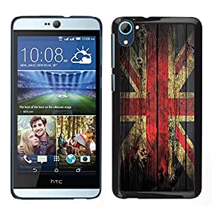 LOVE FOR HTC Desire D826 Grunge Wood Retro Union Jack Flag Personalized Design Custom DIY Case Cover