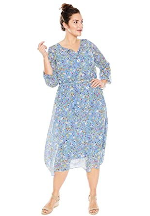 Women\'s Plus Size Peasant Dress at Amazon Women\'s Clothing store: