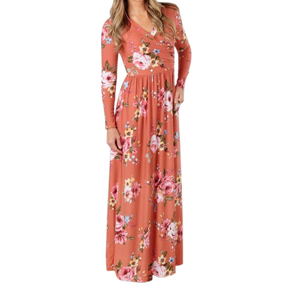 Juleya Vestido de mujer Elegantes vestidos maxi - Vestido largo casual para mujer Vestido de túnica manga larga con estampado floral Verano primavera otoño ...