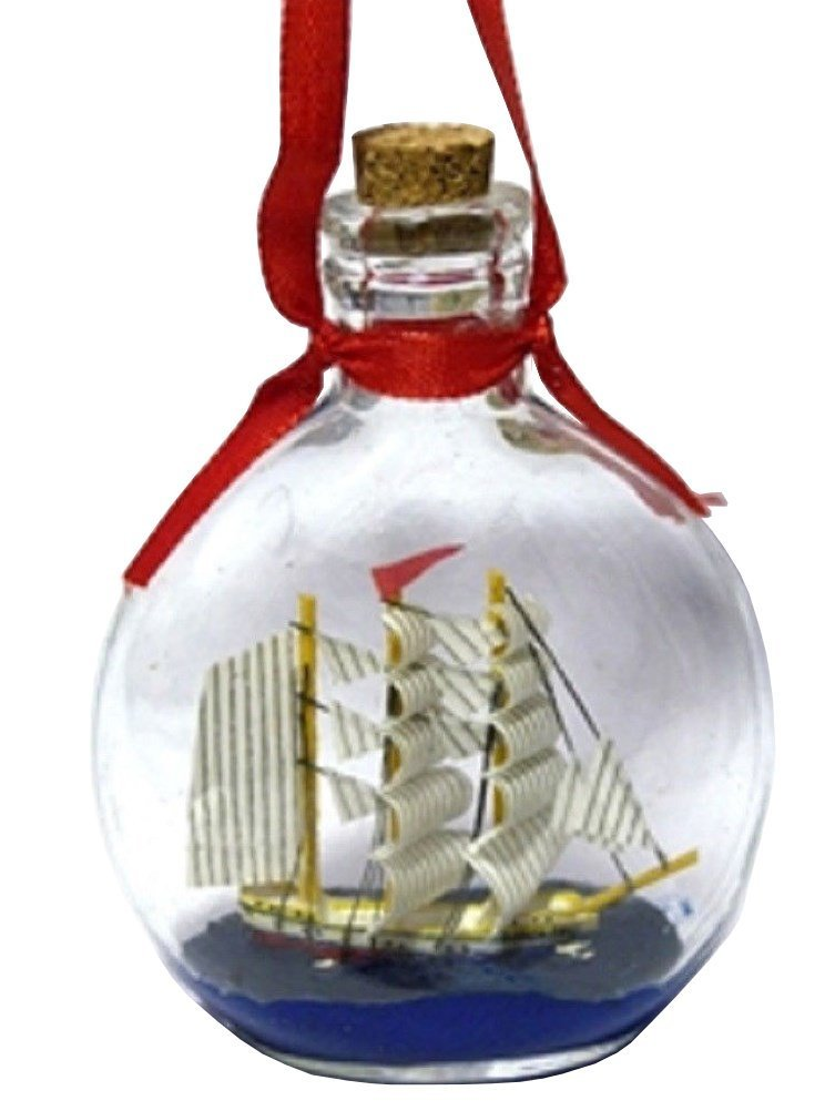 Boat Ship in a Bottle Glass Ornament for Christmas