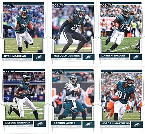 2017 Score Philadelphia Eagles Team Set of 11 Cards: Darren Sproles(#31), Malcolm Jenkins(#52), Ryan Mathews(#70), Jordan Matthews(#81), Carson Wentz(#87), Nelson Agholor(#220), Fletcher Cox(#222), Brandon Graham(#251), Lane Johnson(#261), Zach Ertz(#285), Wendell Smallwood(#293)