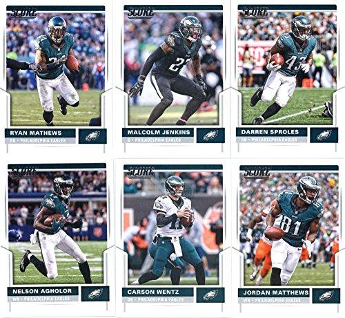 2017 Score Philadelphia Eagles Team Set of 11 Cards: Darren Sproles(#31), Malcolm Jenkins(#52), Ryan Mathews(#70), Jordan Matthews(#81), Carson Wentz(#87), Nelson Agholor(#220), Fletcher Cox(#222), Brandon Graham(#251), Lane Johnson(#261), Zach Ertz(#285), Wendell Smallwood(#293)