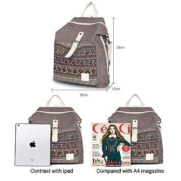 2e98986c33 Femme Toile Sac à dos Mode Légers Vintage Style Sac à dos avec Détachable  Épaule sangle Convertibles Sac à bandoulière Sacs à main Daypack.