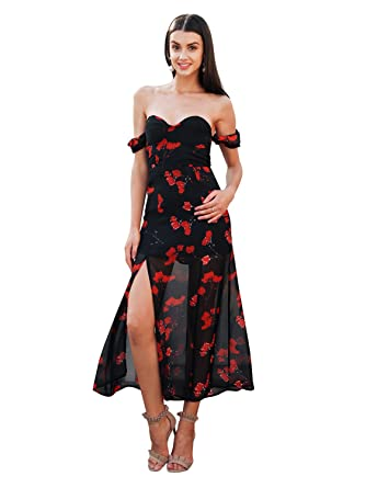 be01f72dc0aba4 Missy Chilli Women s Sexy Off Shoulder V Neck Chiffon Floral Print Dress  Puff Sleeve Split Maxi
