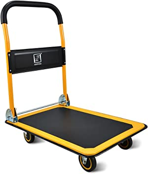 Push Cart Dolly by Wellmax, Moving Platform Hand Truck, Foldable for Easy Storage and 360 Degree Swivel Wheels with 330lb Weight Capacity, Yellow Color