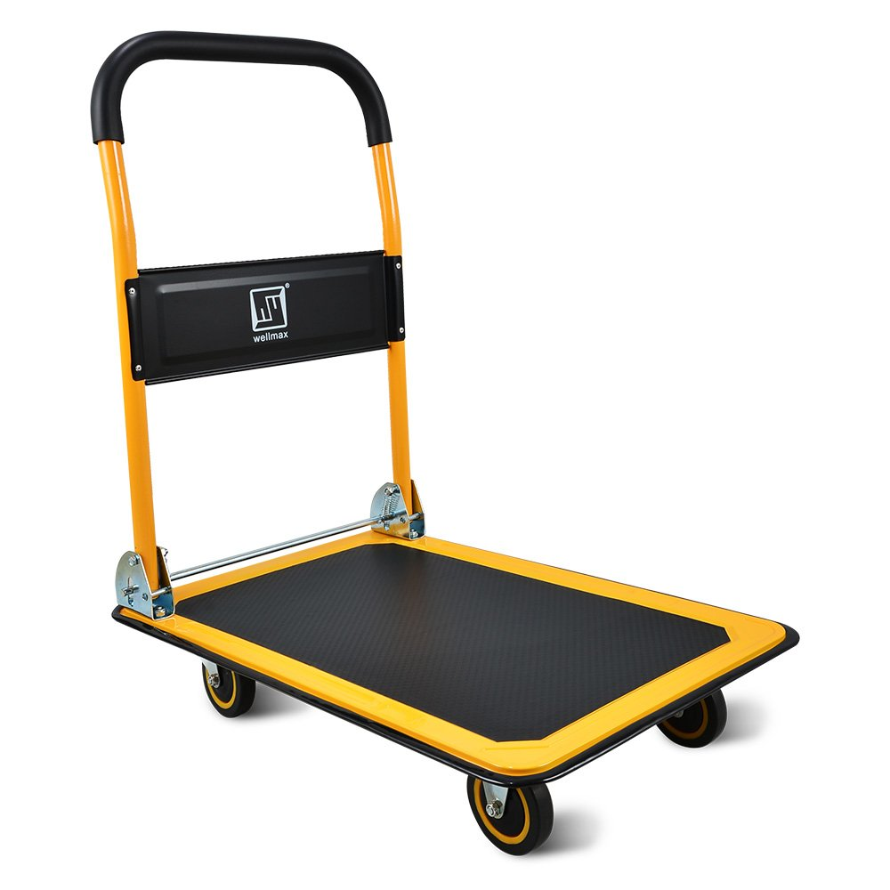 Push Cart Dolly by Wellmax | Functional Moving Platform + Hand Truck | Foldable for Easy Storage + 360-degree Swivel Wheels + 330lb Weight Capacity | Yellow Colour