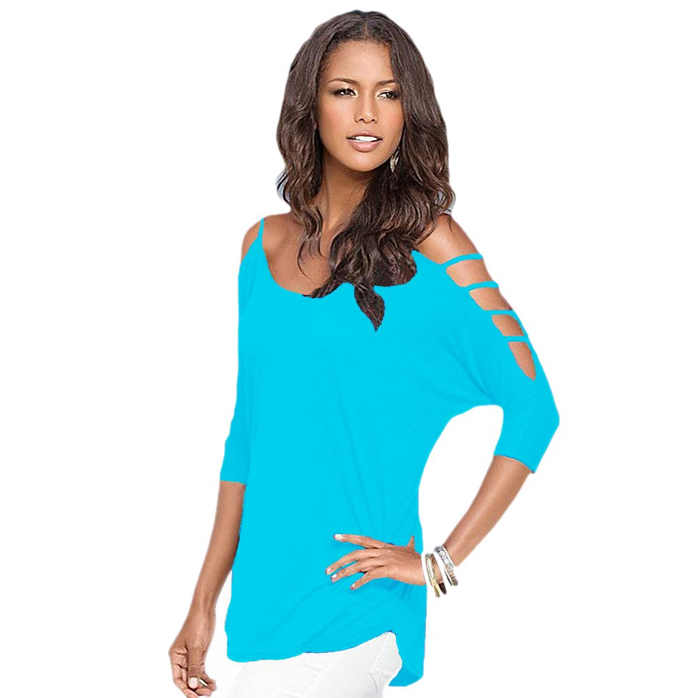 b3ec741e57d Afibi Women s Summer Cut Out Cold Shoulder T Shirt Blouse Tops (X-Large