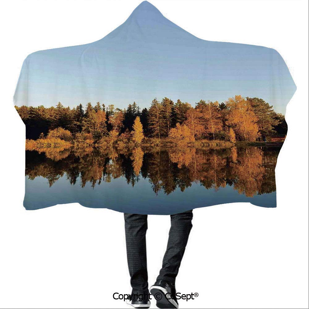 Hooded Blankets,Photo of Autumn Forest and Silhouette of The Trees Over The Lake Peace Nature Art,Unisex All Ages One Size Fits All(59.05x78.74 inch),Yellow Green
