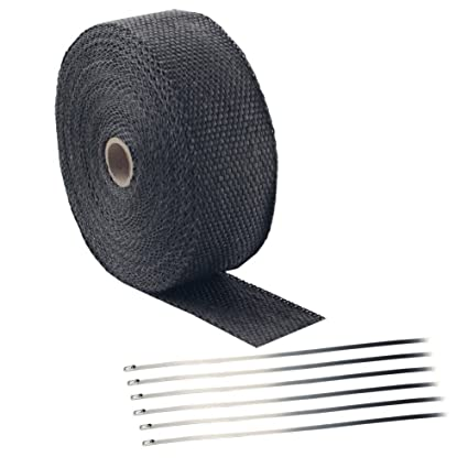 Foneso 2 x 50 Titanium Exhaust Heat Wrap Roll for Motorcycle Fiberglass Heat Shield Tape with Stainless Ties 2 Roll + 24 Ties Kit