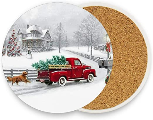 Amazon Com Winter Red Truck Coasters For Drinks Set Of 1