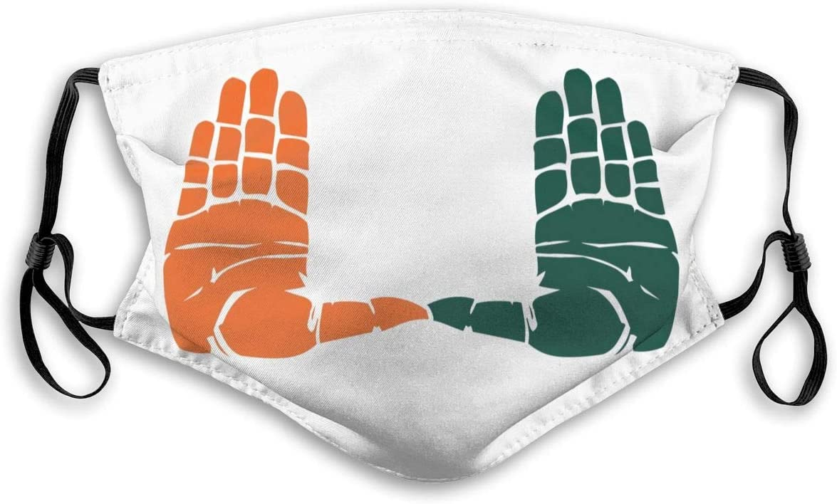 G-III Sports Miami Hurricanes Face Cover Washable Reusable Multipurpose Activated Carbon Filter Protective Adult&Kids Mouth Dust Guard Face Guard Neck Gaiter Medium