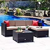 Cloud Mountain No Tax 5PC Rattan Wicker Sofa Set Cushioned Sectional Summer Conversation Set Outdoor Garden Patio Sofa Loveseat Red Pillows, Black Rattan with Khaki Cushions Review