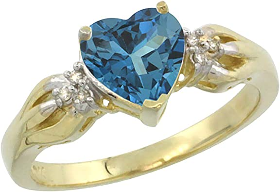 14K Yellow Gold Natural London Blue Topaz Ring Oval 7x5mm Diamond Accent sizes 5-10