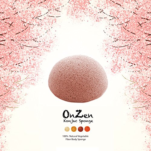 Onzen Konjac Sponge All Natural Japanese Facial Sponge with cherry blossom Coney Island Cotton Candy