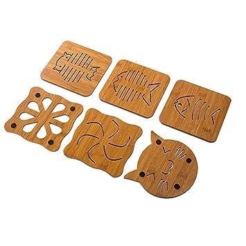 Posavasos de madera hueca con diseño de peces y gatos, 6 unidades para sartén: Amazon.es: Hogar