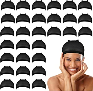 30-pieces Black Wig Caps, Nylon stocking cap for Making Wig caps for-Women-Man (Black)