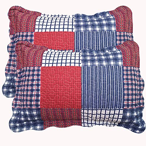 Jessy Home Plaid Patchwork Standard Quilted Pillow Shams Set of 2 Red Blue Square Stitching Pillow Covers 20 X 26-Inch Queen/Full Size 100% Brushed Microfiber (Red Quilted Sham)